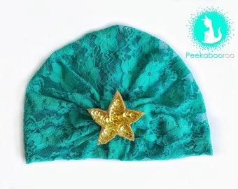 Mermaid Lace Baby Turban, Toddler Headwrap