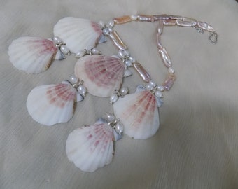 Sea Shell Bib Necklace with Stick Pearlsand GIFT WITH PURCHASE Earrings