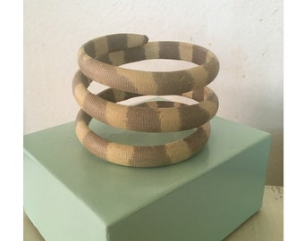 Chic vintage snakeskin muted color wrap bracelet