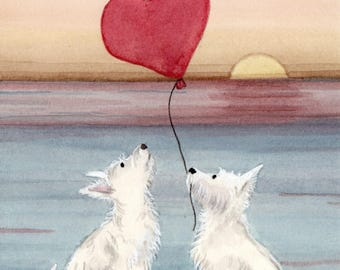 Romantic west highland terrier (westie) pair on beach / Lynch signed folk art print