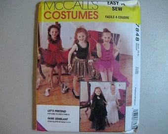 Vintage McCalls 7848 Halloween Costume Sewing Pattern - Childs Small Size 3, 4 Dancer, Bride, Witch, Ballerina, Dress-Up Pattern
