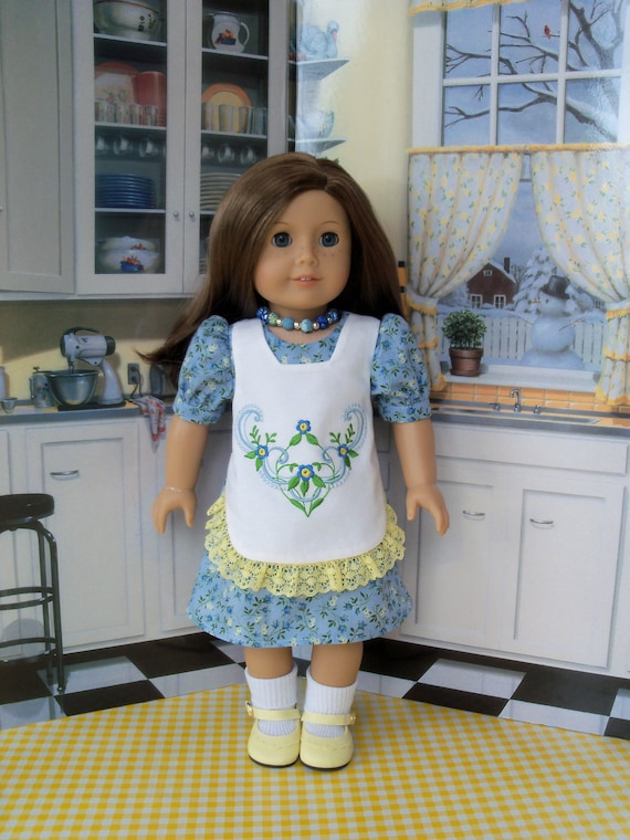 "Like 18 Inch American Girl Doll Clothes / Embroidered Apron Dress for American Girl of other 18"" Doll"