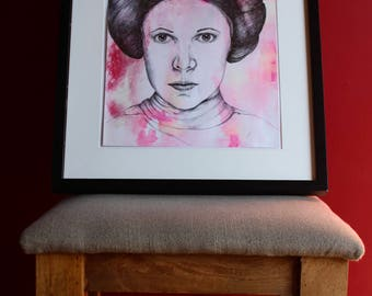 Carrie Fisher REDUCED /Princess Leia portrait in pen and ink. Original, not a print.39cm x 28cm Unframed.