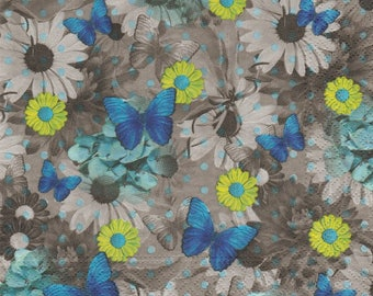 SMALL blue BUTTERFLIES pattern 4 X 1 paper lunch size napkin 271