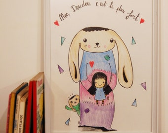 "Illustration ""My Blanky"" child / room/reprography and original Decoration"