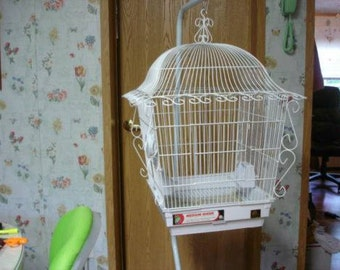 LOCAL PICK Up ONLY  Medium Size White Victorian Bird Cage on Pole or Stand Alone with Dishes, Never Been Used  Augusta Maine  Pick Up Only