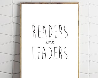 readers are leaders, book wall decor, motivational wall decor, kids wall decor, printable wall art, kids room art