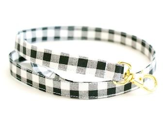 Black and White Gingham Fabric Lanyard with Swivel Clasp - Long Key Lanyard - Teacher ID Strap - 15.5-19.5 Inch Drop - Cute Lanyard