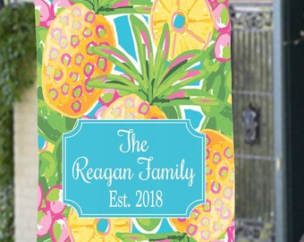 Personalized Pineapple Flag House or Garden Flag Tropical Lilly Style Single or Double Side Custom Address Marker