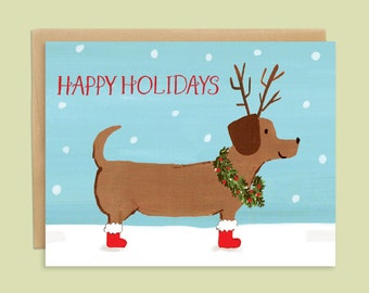 Dachshund Christmas Card with Holiday Dog Illustration, Dog Holiday Card, Dachshund Christmas Card, Handpainted Dog Card, Pet Christmas Card