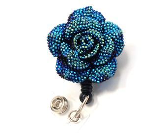Teal Glitter Blossom - Retractable ID Badge Holder - Flower Badge Reels - Nurse Gifts - Pretty Name Badge Clip - Nurse Badge - BadgeBlooms
