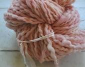 Handdyed Yarn, Thick n Thin, Bulky Yarn, Thick, Wool, Pink, Light Pink, Knitting, Gift, Yospun, Weaving, Crochet, Novelty, artisan, art yarn