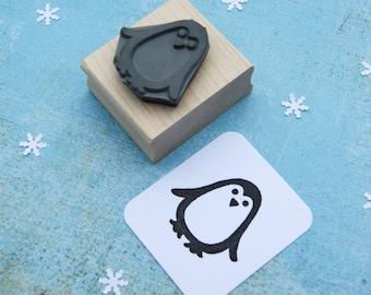 Christmas Stamp - Small Penguin Rubber Stamp  - Stocking Stuffer - Penguin Gift - Gift for Penguin Lover - Christmas Craft