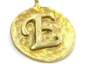 Raw Brass E Letter Charm 20mm  G4911