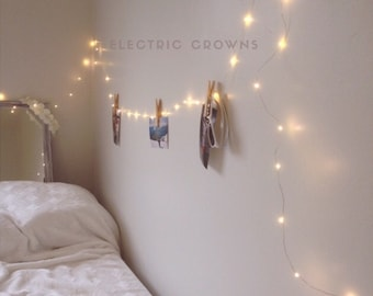 Night Light, Fairy Lights Bedroom, Home Decor, Living Room Wall Decor, Wall String Lights, Bedroom Lighting, Battery Operated Lights & Plug