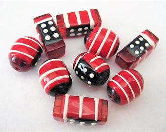 Jewelry Supplies ~ Glass Beads  Red White Blue  Patriotic  Flag   9 pc   Rectangle  Barrel  16-20mm