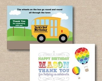 Printable Thank You Cards to match your party