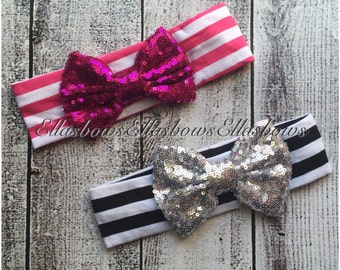 Baby Headbands... Toddler headbands..Sequins and stripes..fabric headbands...soft and stretchy..