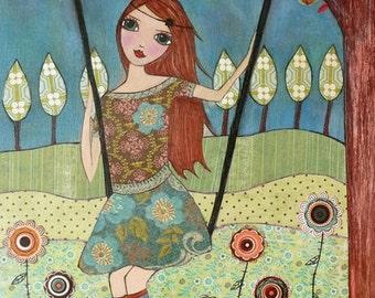 Folk Art Girl Painting Art Print on Wood Whimsical Art