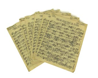 Old Music Sheet Paper Pages. Handwritten Musical Notes Craft Sheets. French Music Room Wall Art and Decor. Musician Gift.
