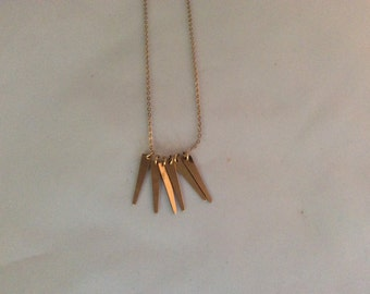 Gold fill spike charm necklace