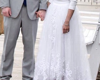 Olivia Palermo inspire high low slit  wedding skirt / Olivia bridal skirt / Inspired Olivia Palermo wedding dress / detachable skirt hilo