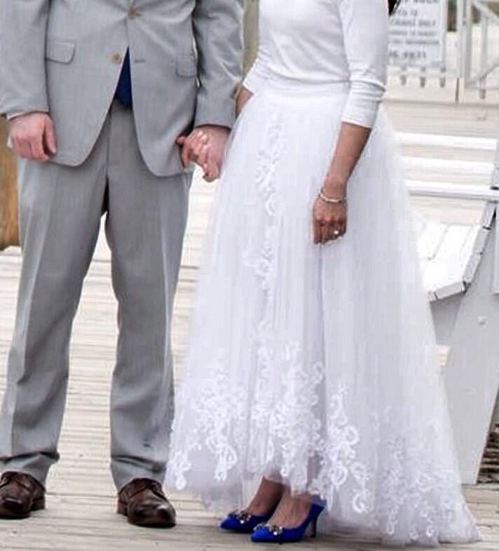 Olivia Palermo Inspire High Low Slit Wedding Skirt / Olivia