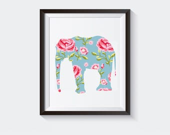 Flower Elephant 8x10 Printable