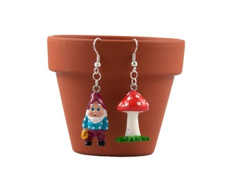 Gnome and Toadstool Earrings - Mismatched Earrings - Gnome Earrings - Gardener Gift