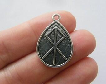 2 Nordic Viking runes pendants antique silver tone WT242