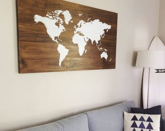 XL Huge World Map on Wood - Rustic Farmhouse Style Decor - Rustic Decor - Nursery Decor - Wall Art, White Map - Travel Wooden Map