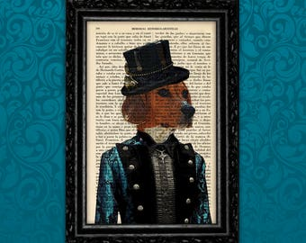 Beagle Dog Victorian Steampunk Book Art Print Birthday Gift Print Animal Print Gift Print Wall Decor Poster Dictionary Print (Animal Nº8)