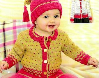 SIRDAR 1273 Baby Cardigan & Hat Knitting Pattern PDF Instant Download