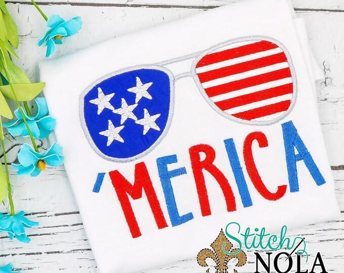 Featured listing image: Merica Sunglasses, American Flag Applique, Patriotic applique, Memorial Day Applique, Fourth of July Applique, Sunglasses Appliq