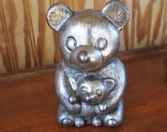 "Silverplated Leonard Vintage Teddy Bear Coin Piggy Bank 5"" Tall"