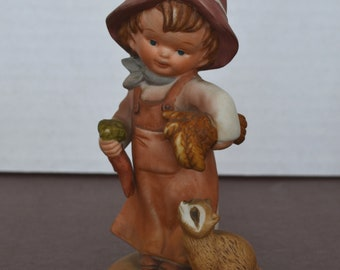 """Vintage 1980 Enesco Figurine -""""All The Lord's Children"""" by Lucas - Little Boy with Raccoon/""""Faithful Forest Friends"""", ***FREE SHIPPING***"""