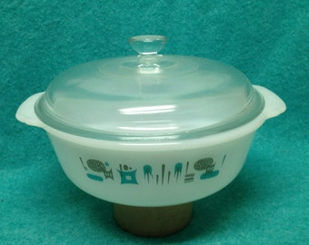 "Royal China Blue Heaven Fire King 8"" Round Covered Casserole"