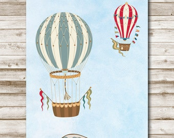 Hot Air Balloon Nursery Printable 4x6 5x7 8x10 11x14 Nursery Art Children's Playroom Decor Vintage Striped Balloons Photography Prop