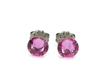 Titanium Stud Earrings Pink, Rose Swarovski Crystal Post Earrings, Titanium Posts Earrings, Hypoallergenic Jewelry