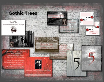 Gothic Wedding/Trees/Wedding Invitation Suite/Wedding Invitation Set/Wedding Set/Personalized Wedding Invitation Set/Unusual/Modern Wedding