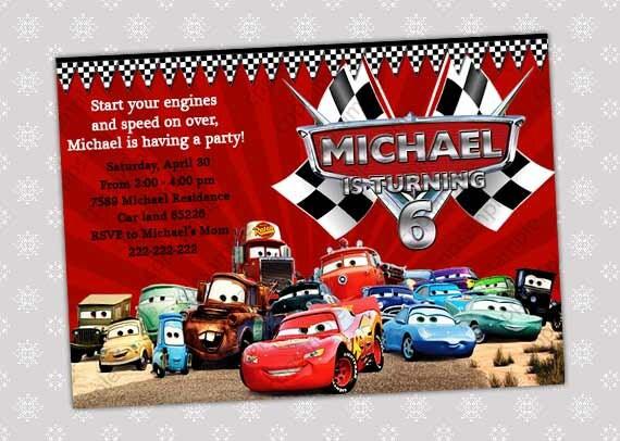 Artículos similares a Disney Cars Rayo McQueen cumpleaños fiesta invitación archivo Digital en