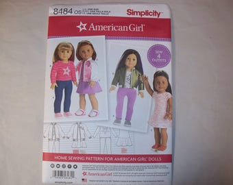 """New Simplicity, American Girl, 18"""" Doll Clothing Pattern, 8484 (Free US Shipping)"""