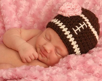 Crochet Baby Girl Football Hat, Ready to Ship, Newborn Football Hat, Baby Girl Hat, Crochet Baby Hat, Football Photo Prop, Baby Girl Outfit