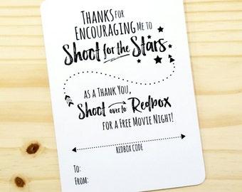 Printable Movie Night Appreciation Redbox Gift Card Holder   For Teacher,  Counselor, Coach   Thank You   Encouragement  School Year  DIGITAL