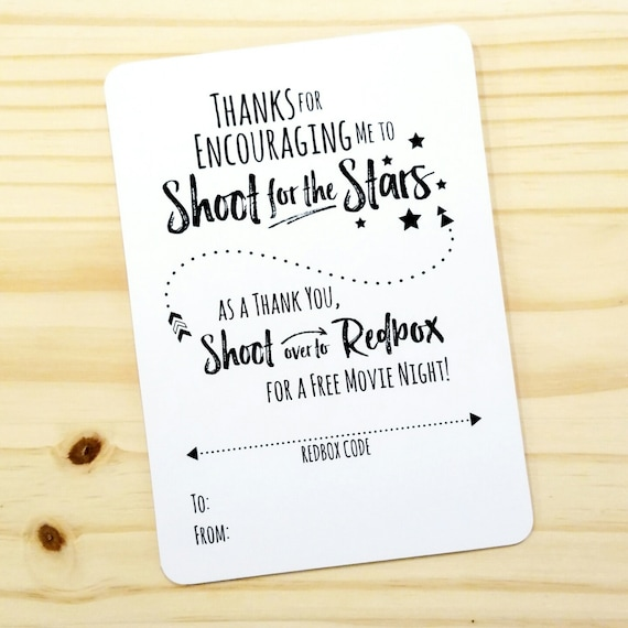 Printable Movie Night Appreciation Redbox Gift Card Holder
