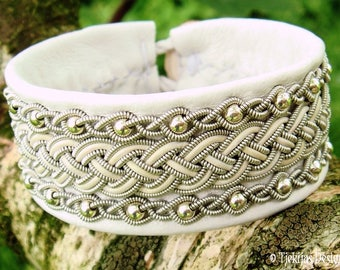 White Leather Viking Sami Bracelet Cuff GERI with Sterling Silver beads in Pewter Braids - Handcrafted Nordic Folklore Jewelry