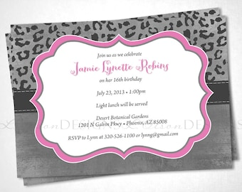 Cheetah Print Birthday Invitation - Pink - DIY printable
