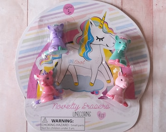 Novelty Unicorn Erasers 4ct Stationery & School Supplies