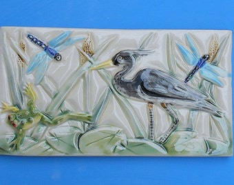 Great Blue Heron, Dragonflies and a Frog, Subway Tile, Arts and Crafts, Mission Style