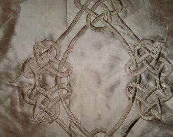 SILK LOOM Inc. CEREMONY Embroidered Silk Fabric 10 Yards Brown